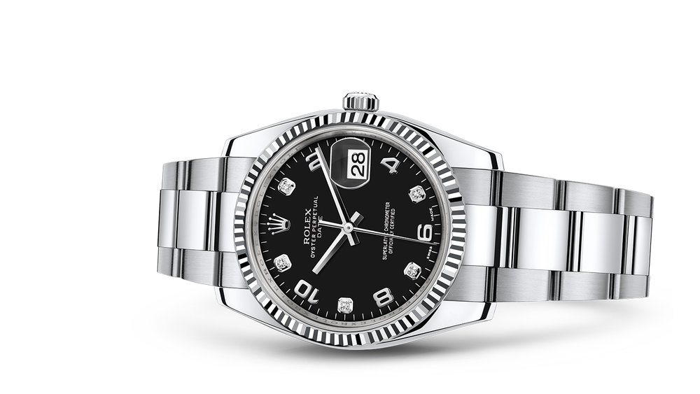 "DATE 34<br><span class=""watch-des"">Oyster, 34 mm, Oystersteel and white</span>"