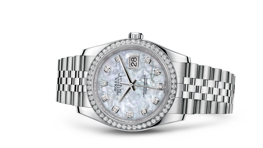 """DATEJUST 36<br><span class=""""watch-des"""">Oyster, 36 mm, Oystersteel, white gold and diamonds</span>"""