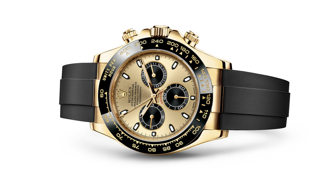 """COSMOGRAPH DAYTONA<br><span class=""""watch-des"""">Oyster, 40 mm, yellow gold</span>"""