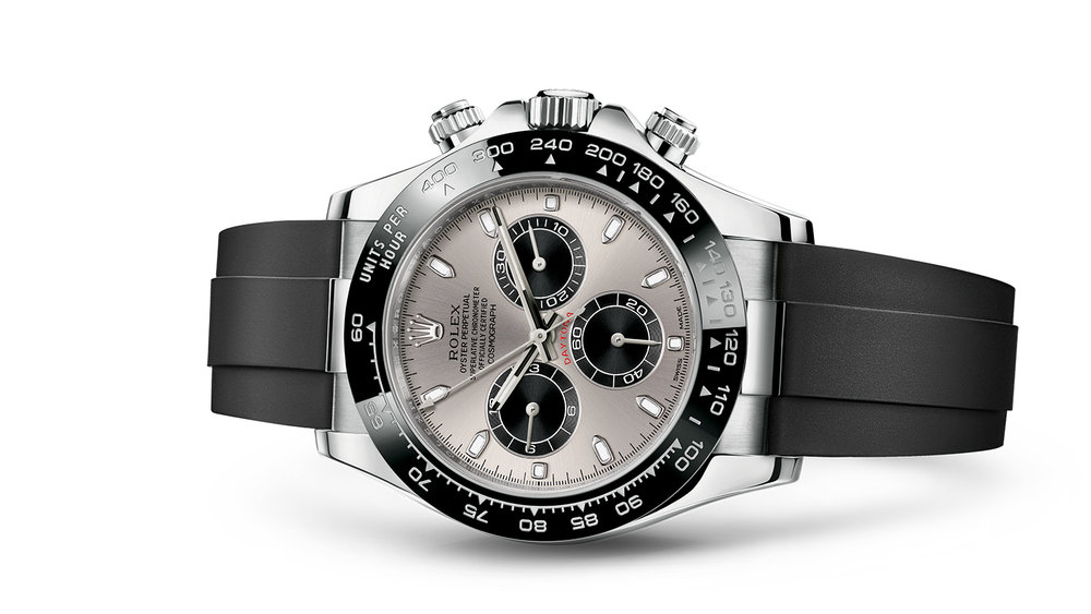"""COSMOGRAPH DAYTONA<br><span class=""""watch-des"""">Oyster, 40 mm, white gold</span>"""
