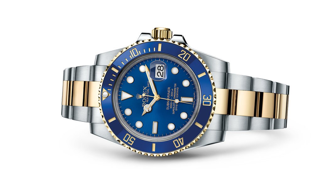"""SUBMARINER DATE<br><span class=""""watch-des"""">Oyster, 40 mm, Oystersteel and yellow gold</span>"""