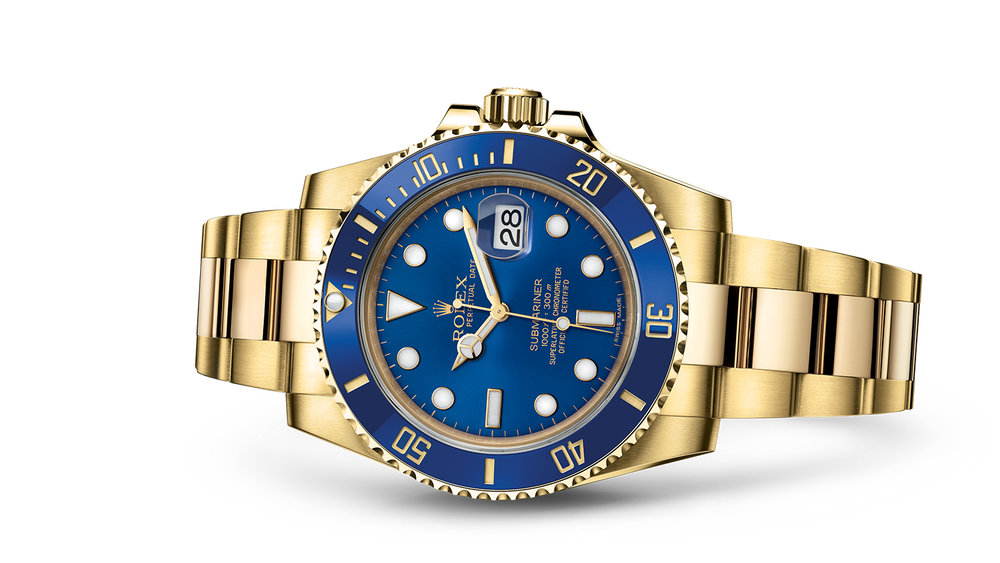 "SUBMARINER DATE<br><span class=""watch-des"">Oyster, 40 mm, yellow gold</span>"