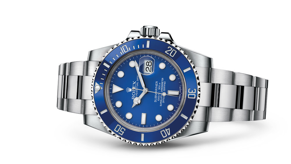 "SUBMARINER DATE<br><span class=""watch-des"">Oyster, 40 mm, white gold</span>"