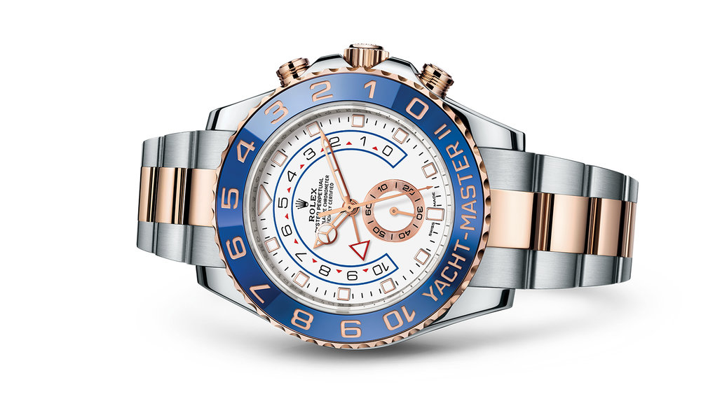 """YACHT-MASTER II<br><span class=""""watch-des"""">Oyster, 44 mm, Oystersteel and Everose gold</span>"""