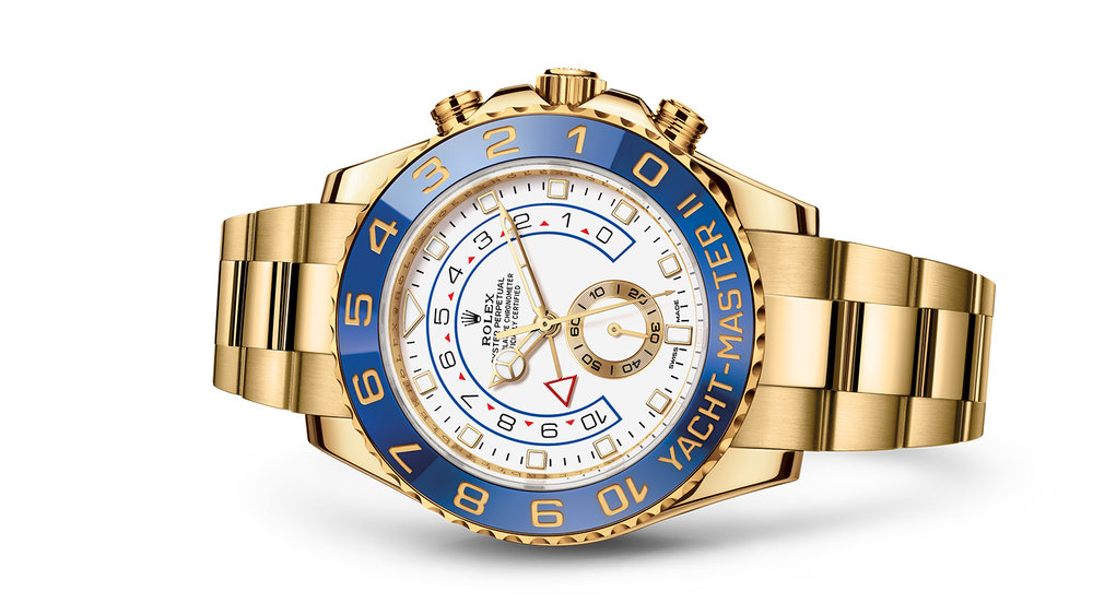"""YACHT-MASTER II<br><span class=""""watch-des"""">Oyster, 44 mm, yellow gold</span>"""