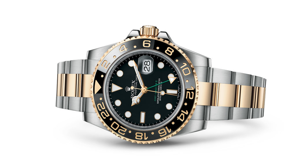 """GMT-MASTER II<br><span class=""""watch-des"""">Oyster, 40 mm, Oystersteel and yellow gold</span>"""