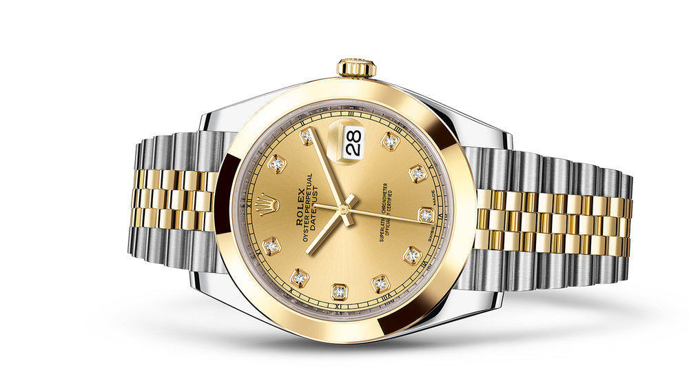 """DATEJUST 41<br><span class=""""watch-des"""">Oyster, 41 mm, Oystersteel and yellow gold</span>"""