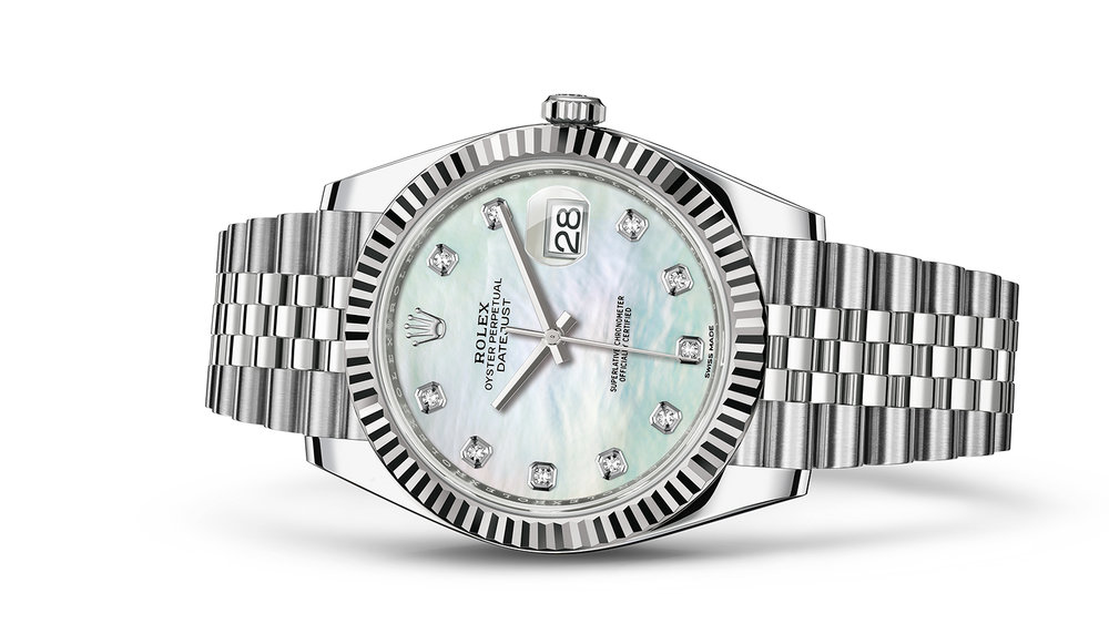 """DATEJUST 41<br><span class=""""watch-des"""">Oyster, 41 mm, Oystersteel and white gold</span>"""