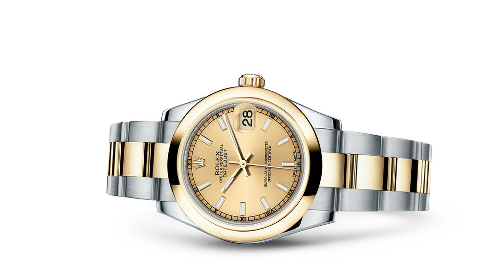 "DATEJUST 31<br><span class=""watch-des"">Oyster, 31 mm, Oystersteel and yellow gold</span>"