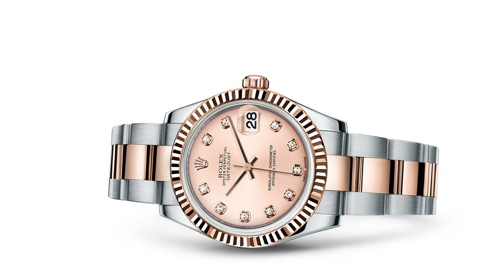 """DATEJUST 31<br><span class=""""watch-des"""">Oyster, 31 mm, Oystersteel and Everose gold</span>"""