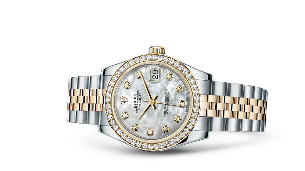 """DATEJUST 31<br><span class=""""watch-des"""">Oyster, 31 mm, Oystersteel, yellow gold and diamonds</span>"""