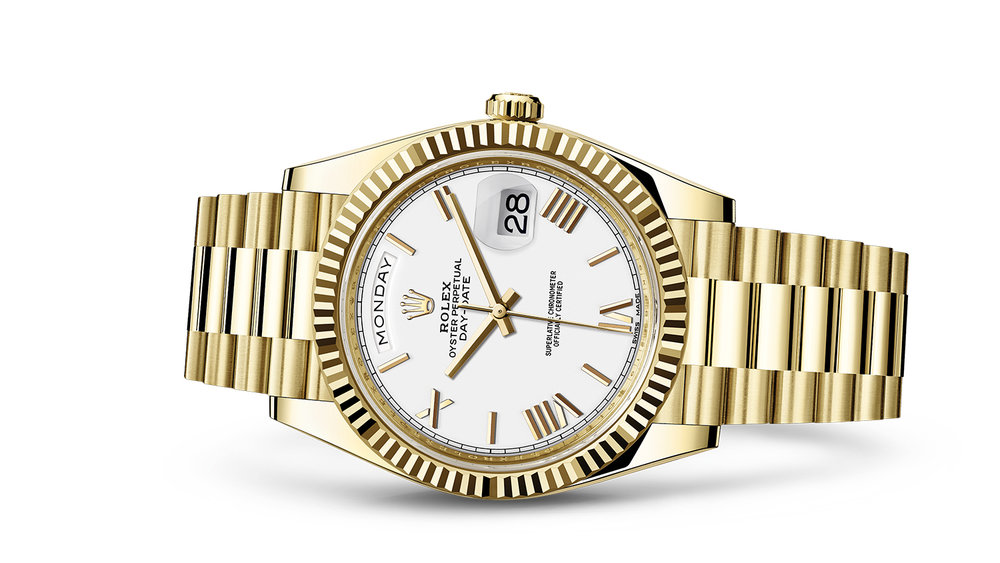 """DAY-DATE 40<br><span class=""""watch-des"""">Oyster, 40 mm, yellow gold</span>"""