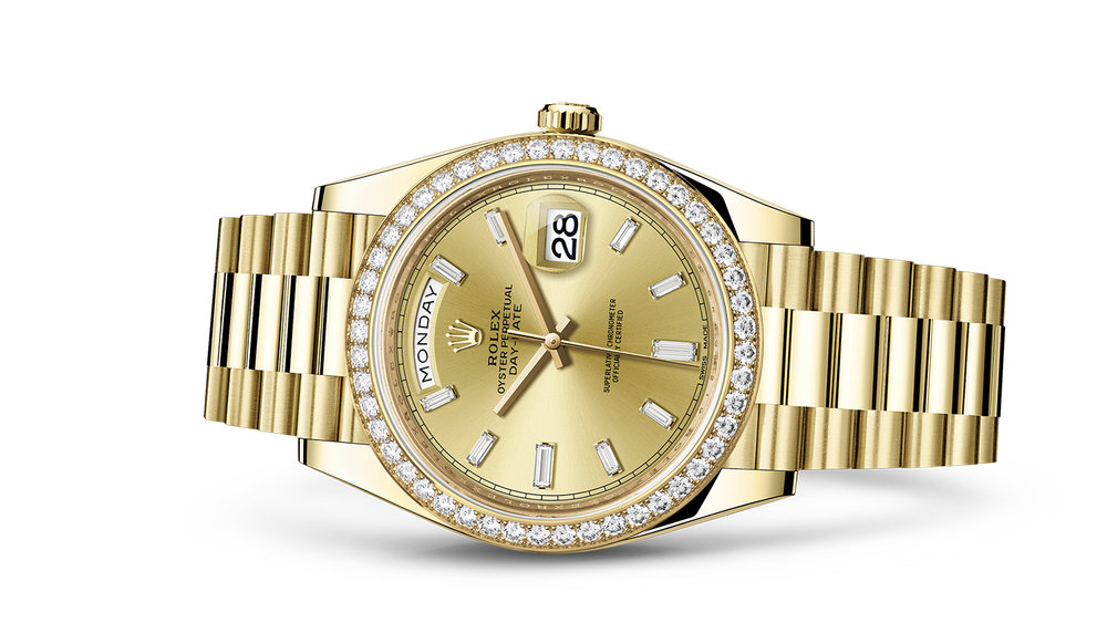 """DAY-DATE 40<br><span class=""""watch-des"""">Oyster, 40 mm, yellow gold and diamonds</span>"""