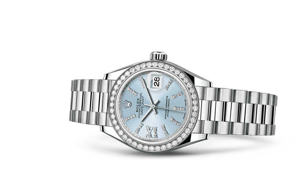 """LADY-DATEJUST 28<br><span class=""""watch-des"""">Oyster, 28 mm, platinum and diamonds</span>"""