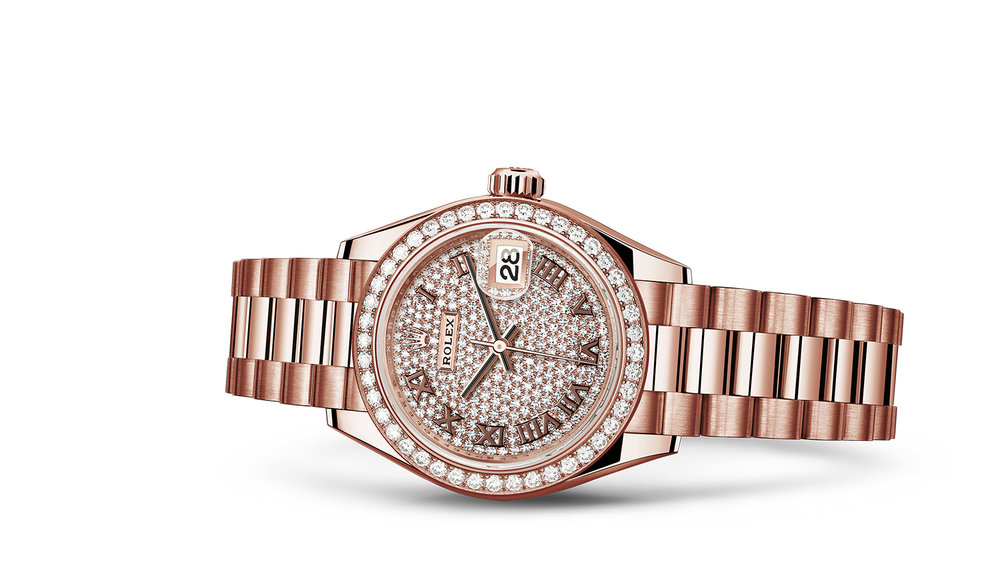 """LADY-DATEJUST 28<br><span class=""""watch-des"""">Oyster, 28 mm, Everose gold and diamonds</span>"""