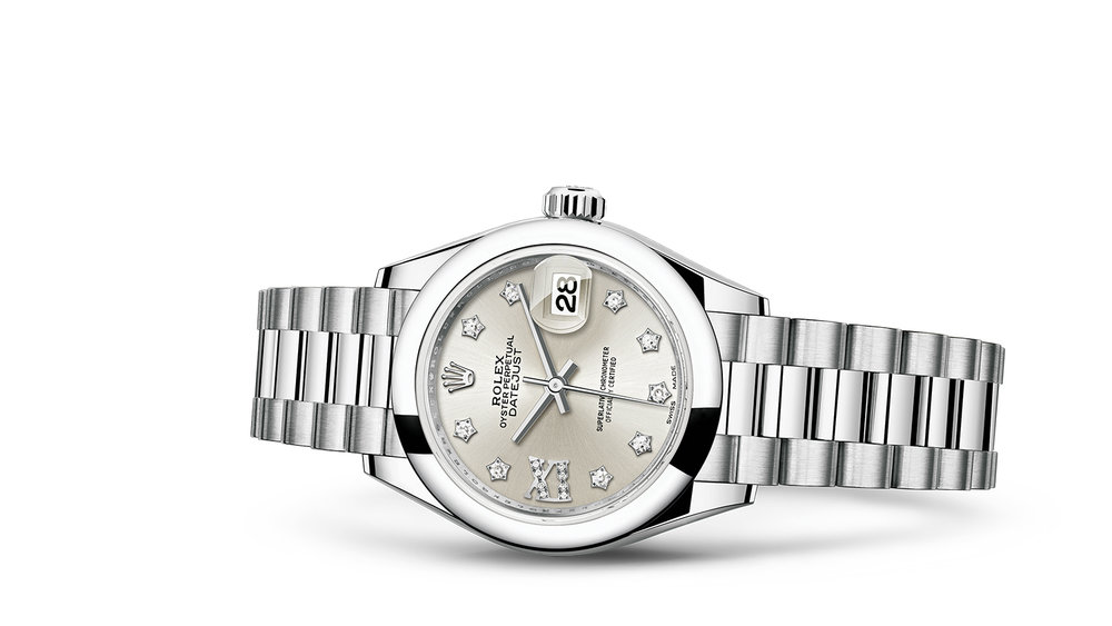 """LADY-DATEJUST 28<br><span class=""""watch-des"""">Oyster, 28 mm, platinum</span>"""