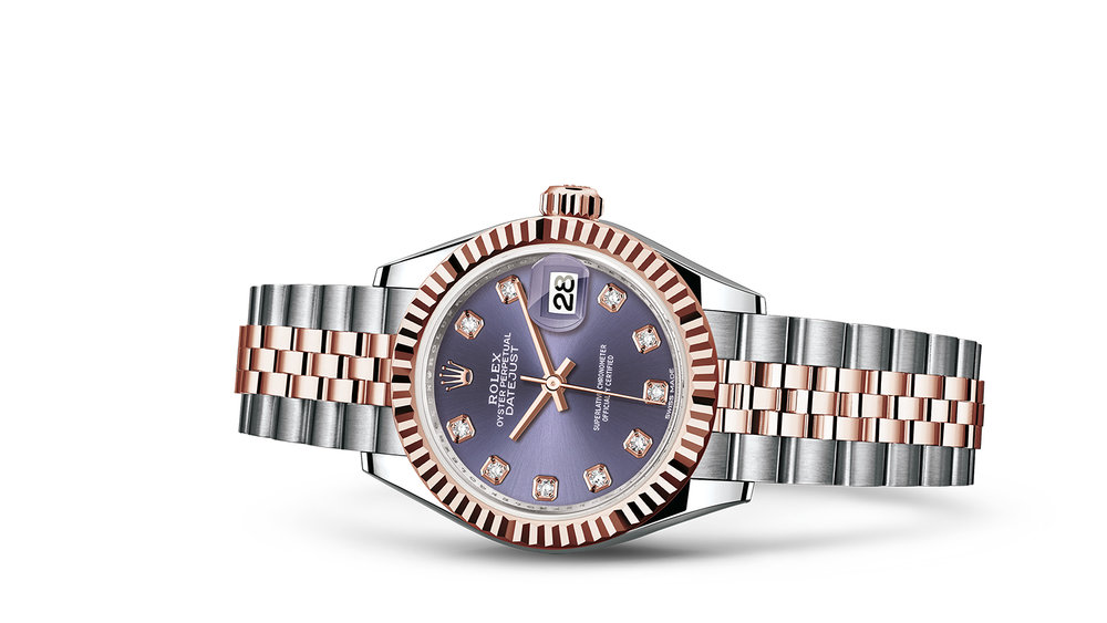 """LADY-DATEJUST 28 <br><span class=""""watch-des"""">Oyster, 28 mm, Oystersteel and Everose gold</span>"""