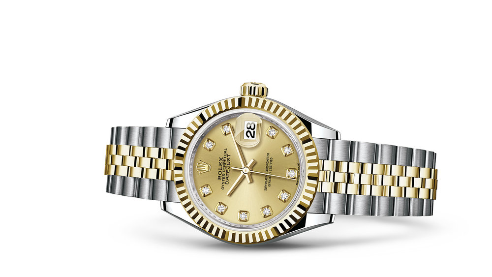 """LADY-DATEJUST 28 <br><span class=""""watch-des"""">Oyster, 28 mm, Oystersteel and yellow gold</span>"""