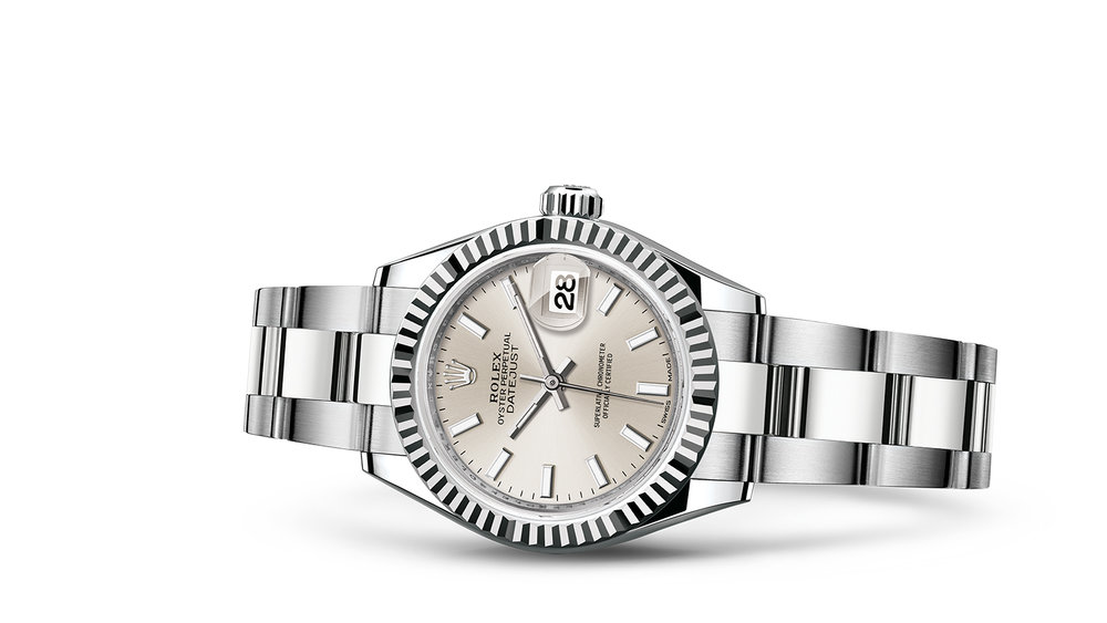 """LADY-DATEJUST 28<br><span class=""""watch-des"""">Oyster, 28 mm, Oystersteel and white gold</span>"""