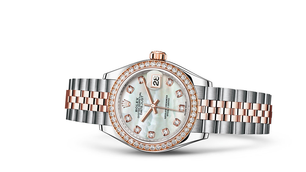 """LADY-DATEJUST 28<br><span class=""""watch-des"""">Oyster, 28 mm, Oystersteel, Everose gold and diamonds</span>"""