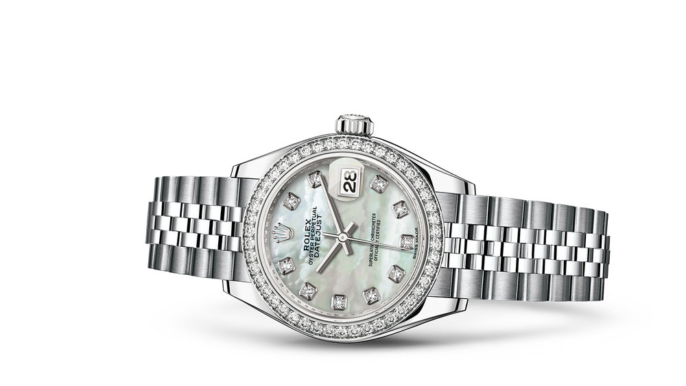 """LADY-DATEJUST 28<br><span class=""""watch-des"""">Oyster, 28 mm, Oystersteel, white gold and diamonds</span>"""