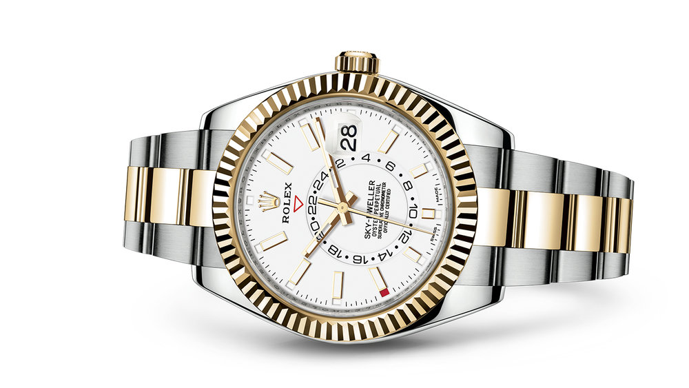 """SKY-DWELLER<br><span class=""""watch-des"""">Oyster, 42 mm, Oystersteel and yellow gold</span>"""