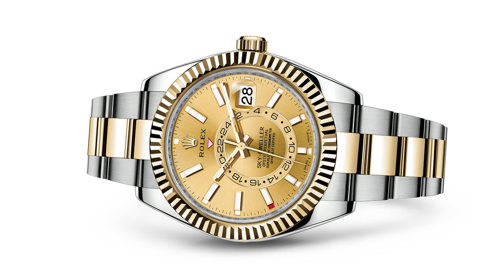 "SKY-DWELLER<br><span class=""watch-des"">Oyster, 42 mm, Oystersteel and yellow gold</span>"