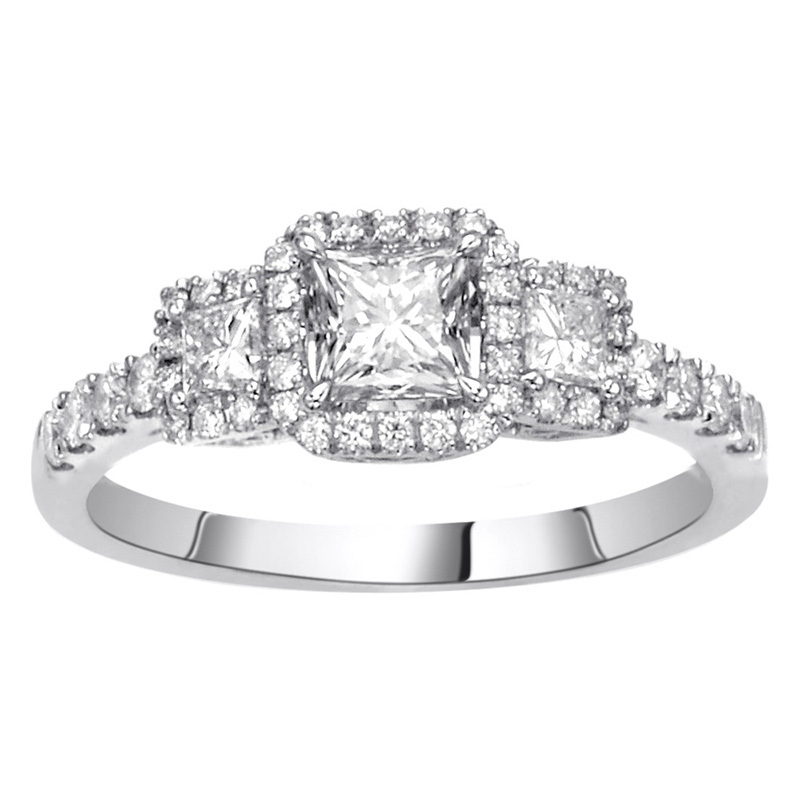 Three stone diamond engagement ring.