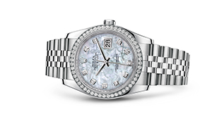 "DATEJUST 36<br><span class=""watch-des"">Oyster, 36 mm, Oystersteel, white gold and diamonds</span>"