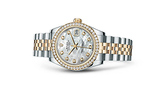 "DATEJUST 31<br><span class=""watch-des"">Oyster, 31 mm, Oystersteel, yellow gold and diamonds</span>"