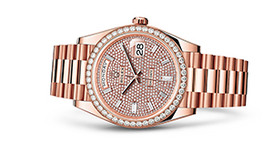 "DAY-DATE 40<br><span class=""watch-des"">Oyster, 40 mm, Everose gold and diamonds</span>"