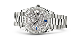 "DAY-DATE 40<br><span class=""watch-des"">Oyster, 40 mm, white gold and diamonds</span>"