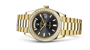 "DAY-DATE 40<br><span class=""watch-des"">Oyster, 40 mm, yellow gold and diamonds</span>"