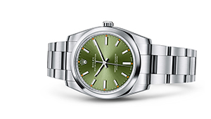 "OYSTER PERPETUAL 34<br><span class=""watch-des"">Oyster, 34 mm, Oystersteel</span>"