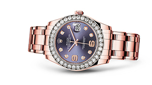 """PEARLMASTER 39<br><span class=""""watch-des"""">Oyster, 39 mm, Everose gold and diamonds</span>"""