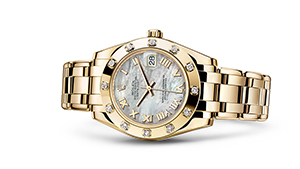 """PEARLMASTER 34<br><span class=""""watch-des"""">Oyster, 34 mm, yellow gold and diamonds</span>"""