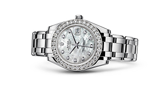 """PEARLMASTER 34<br><span class=""""watch-des"""">Oyster, 34 mm, white gold and diamonds</span>"""