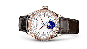 """CELLINI MOONPHASE<br><span class=""""watch-des"""">39 mm, 18 kt Everose gold, polished finish</span>"""