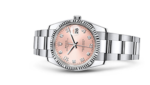 """DATE 34<br><span class=""""watch-des"""">Oyster, 34 mm, Oystersteel and white gold</span>"""