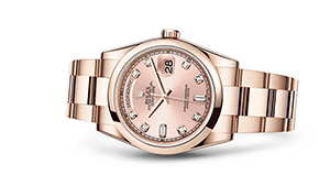 """DAY-DATE 36<br><span class=""""watch-des"""">Oyster, 36 mm, Everose gold</span>"""