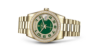 """DAY-DATE 36<br><span class=""""watch-des"""">Oyster, 36 mm, yellow gold and diamonds</span>"""