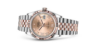 "DATEJUST 36<br><span class=""watch-des"">Oyster, 36 mm, Oystersteel and Everose gold</span>"