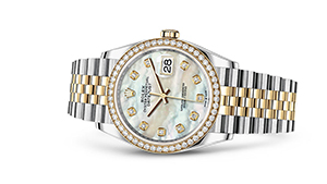 "DATEJUST 36<br><span class=""watch-des"">Oyster, 36 mm, Oystersteel, yellow gold and diamonds</span>"