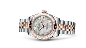 """DATEJUST 31<br><span class=""""watch-des"""">Oyster, 31 mm, Oystersteel, Everose gold and diamonds</span>"""