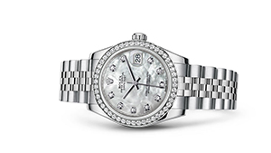 """DATEJUST 31<br><span class=""""watch-des"""">Oyster, 31 mm, Oystersteel, white gold and diamonds</span>"""