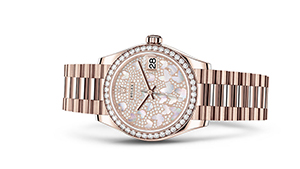 """DATEJUST 31<br><span class=""""watch-des"""">Oyster, 31 mm, Everose gold and diamonds</span>"""