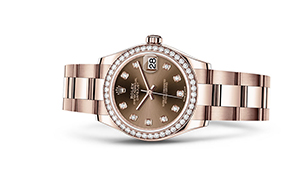 "DATEJUST 31<br><span class=""watch-des"">Oyster, 31 mm, Everose gold and diamonds</span>"