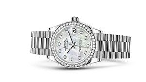 """DATEJUST 31<br><span class=""""watch-des"""">Oyster, 31 mm, white gold and diamonds</span>"""