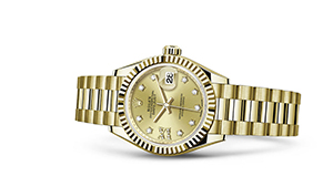 "LADY-DATEJUST 28<br><span class=""watch-des"">Oyster, 28 mm, yellow gold</span>"
