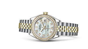 """LADY-DATEJUST 28<br><span class=""""watch-des"""">Oyster, 28 mm, Oystersteel, yellow gold and diamonds</span>"""